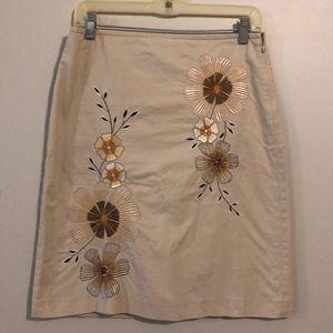 Ann Taylor LOFT embroidered A-line skirt